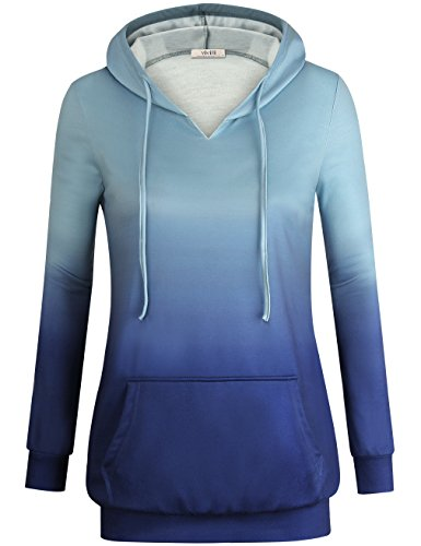 Vivilli Womens Hoody Sweaters, Women's Raglan Cute Hoodie Drawstring Hooded Pullover Sweatshirt Blue Ombre,Medium