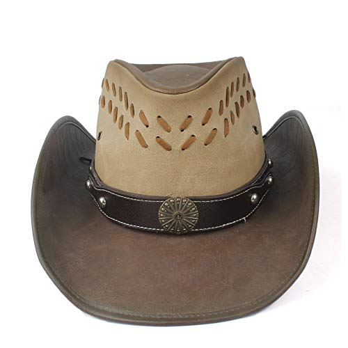 Women Western Leather Outback Cowboy Hat Punk Band Funny Party Cap