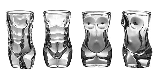Novelty Shot Glass - Dopecha Shot Glass Set Four 4 Piece 2 Male 2 Female Shaped Glasses 1.5 oz ouce 45 ml