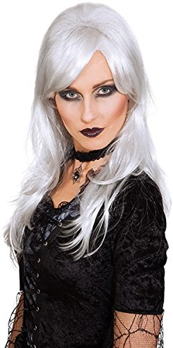 3229800 – Dark Angel Bruja peluca Blanco Gris Halloween