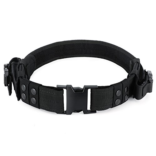 Barbarians Tactical Belt Enforcement Pistol Belt with Dual Mag Pouches, Belt Keepers Black