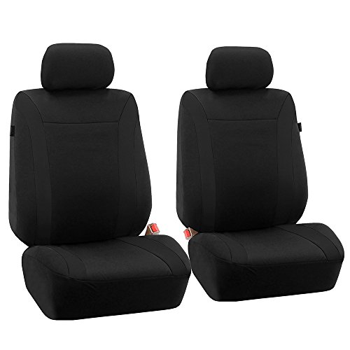 FH GROUP FH-FB054102 Black Cosmopolitan Flat Cloth Seat Covers, Airbag compatible and Split Bench, Solid Black color -Fit Most Car, Truck, Suv, or Van