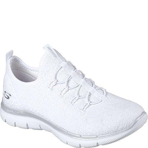 Cut Women's Slip Sport White Appeal Flex On Skechers Clear Silver qxCUgIXnw