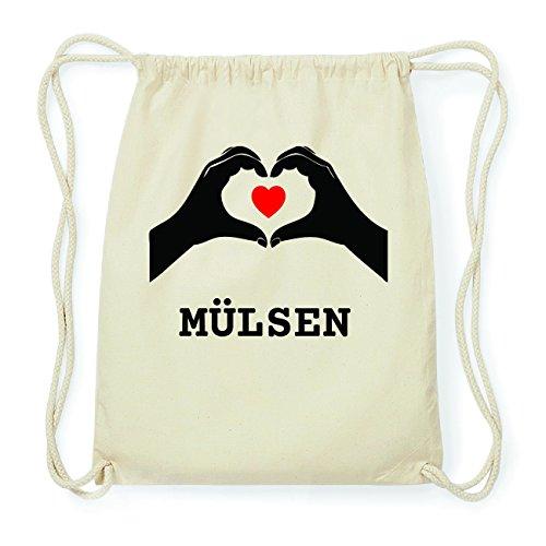 JOllify MÜLSEN Hipster Turnbeutel Tasche Rucksack aus Baumwolle - Farbe: natur Design: Hände Herz 62ERXnXv5k