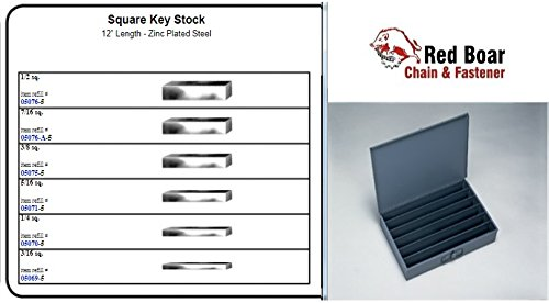 """Keyway Key (Square Key Stock (12"""" Length - Zinc Plated Steel) in 6 Hole Metal Tray Assortment (18""""w x 12""""d x 3""""h))"""