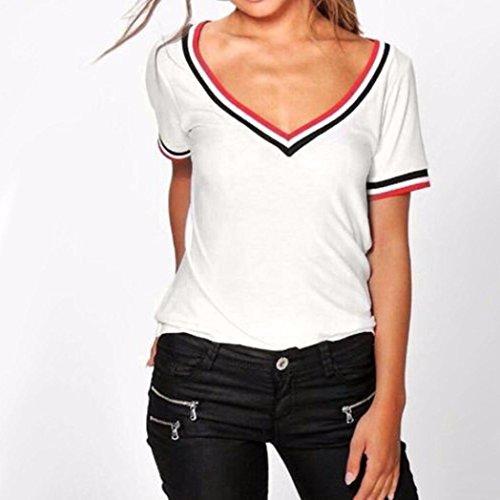 V Koly a a Bianco Tee Particolare camicetta superiore scollo corte a maniche shirt con T Ladies casuale costine vwqv1RH
