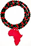 Africa Good Wood Goodwood All Wood Style Replica Pendant Necklace - Red with Rd, Blk, Grn Beads