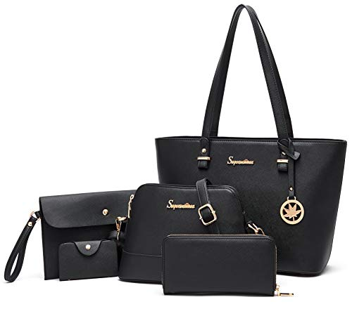 Soperwillton Women Fashion Handbags Tote Bag Shoulder Bag Top Handle Satchel 5pcs Purse Set