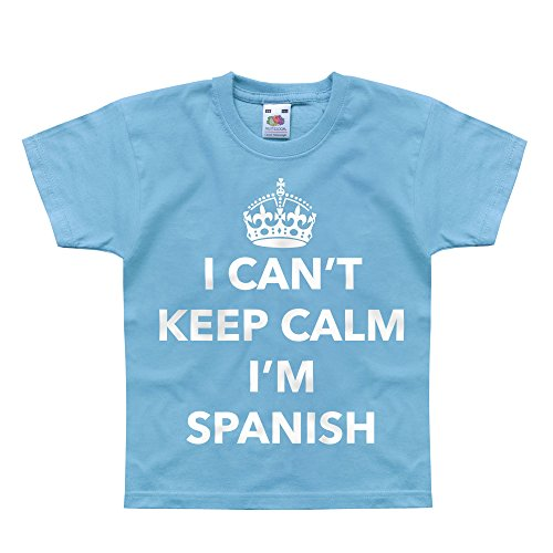 Nutees I Can't Keep Calm I'm Spanish, Spain Unisex Kids T Shirts - Light Blue 12/13 Years ()