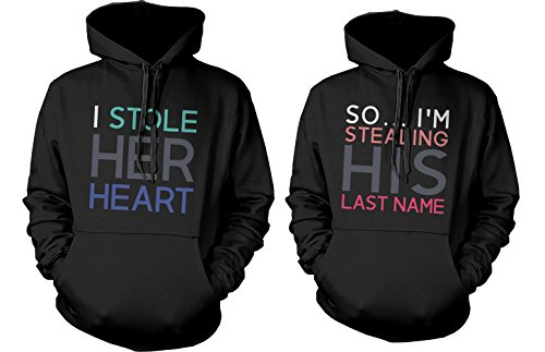 Sweatshirt Name Valentine (Mr and Mrs Matching Hoodies - I Stole Her Heart, So I'm Stealing His Last Name (LEFT- M / RIGHT- XS))