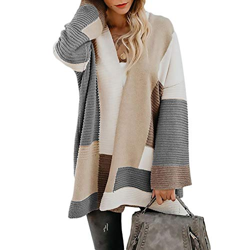 Exlura Color Block Cardigan Open Front Sweaters Loose Knit Casual Coat Grey