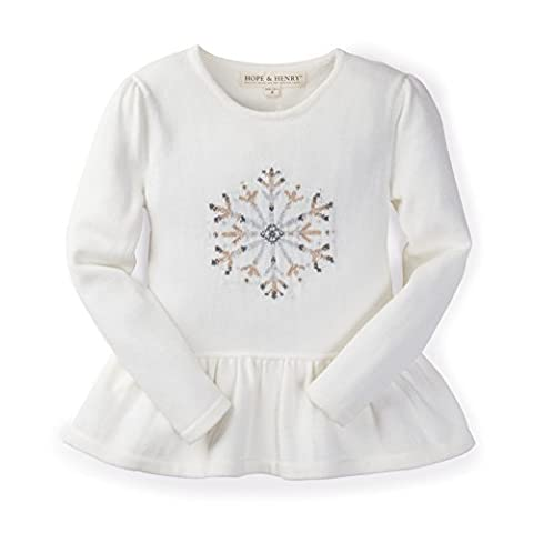 Hope & Henry Girls' Ivory Snowflake Intarsia Sweater Made with Organic Cotton Size 10-12 - Top Snowflakes