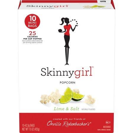 Skinny Girl Lime & Salt Popcorn 10 Mini Bags, 15 Oz. (2 Boxes)