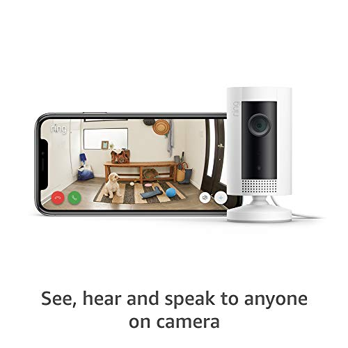 Introducing Ring Indoor Cam, Compact Plug-In HD security camera with two-way talk, White, Works with Alexa – 4-Pack