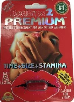(RedLips 2 Premium Male Enhancement 6 Pills + FREE DELAY SPRAY)