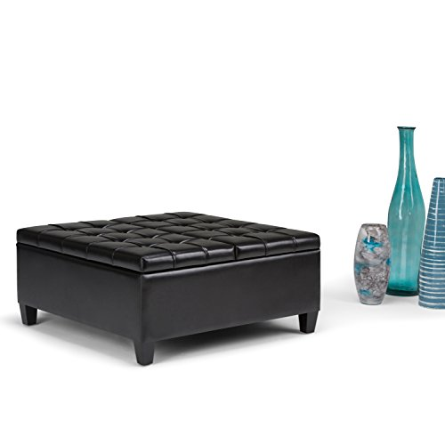 Simpli Home Harrison Coffee Table Storage Ottoman, Midnight Black by Simpli Home (Image #1)