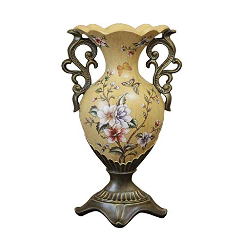 - QIANDING HPING Ceramic Floor Vase European Style Style with Carved Double Ear Design, Used for Home Dining Room New House Hotel Decoration, Flower Insertion, Single Bottle Ceramic vase