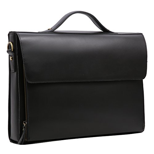 Leathario Leather Briefcase for Men Leather Laptop Bag Shoulder Messenger Bag Business Work Bag by Leathario