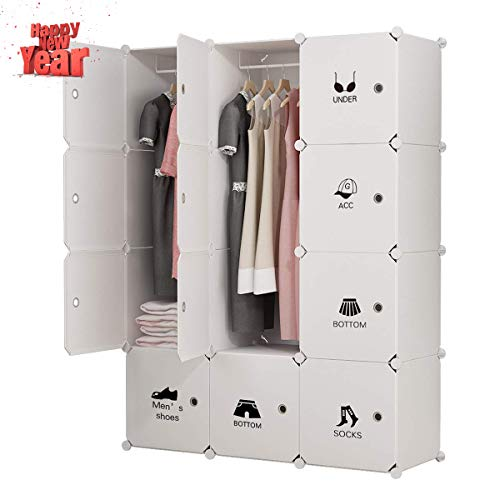 Doors Wardrobe Bedroom - KOUSI Portable Clothes Closet Wardrobe Bedroom Armoire Dresser Cube Storage Organizer, Capacious & Customizable, White, 6 Cubes & 2 Hanging Clothes
