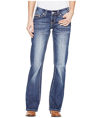 Rock and Roll Cowgirl Women's Riding Bootcut in Medium Wash W7-1393 Medium Wash Jeans Crinkled Wash Denim Jeans