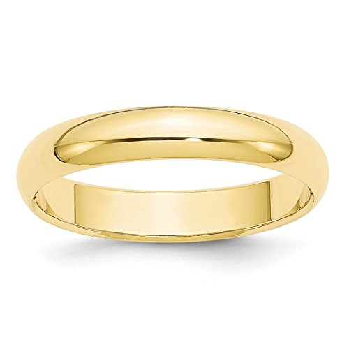 10kt 4mm Band - ICE CARATS 10kt Yellow Gold 4mm Half Round Wedding Ring Band Size 10.5 Classic Fine Jewelry Ideal Gifts For Women Gift Set From Heart