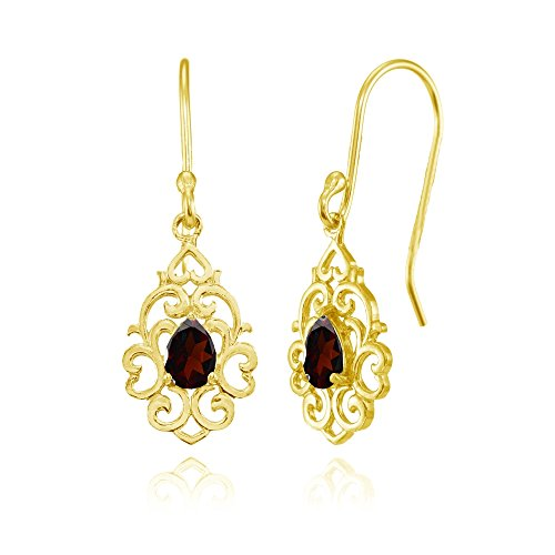 Yellow Gold Flashed Sterling Silver Garnet Filigree Heart Teardrop Dangle ()