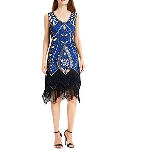 High end Lace Women Vintage 1920s Bead Fringe Dresses Fashion Female Sequin Party Flapper Dress Ladies Plus Size Clothe Blue]()