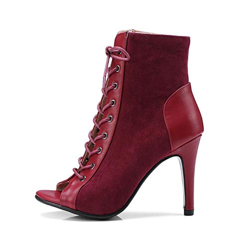 Merry-Heart Women Summer Ankle Boots Lace-up Ladies Thin High Heels Peep Toe Short Boot,Wine Red,8.5