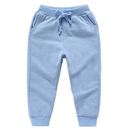 Astellarie Toddler Baby Boy Girl Active Elastic Waist Sport Cotton Jogger Sweatpants with Drawstring in Basic Color 18M-8T (Blue,4T)