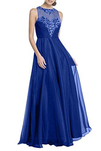 Rock A Chiffon Linie Festlich Charmant Partykleider Abendkleider Damen Brautmutterkleider Perlen Lang Blau Royal Pailletten CPq8BCxwz
