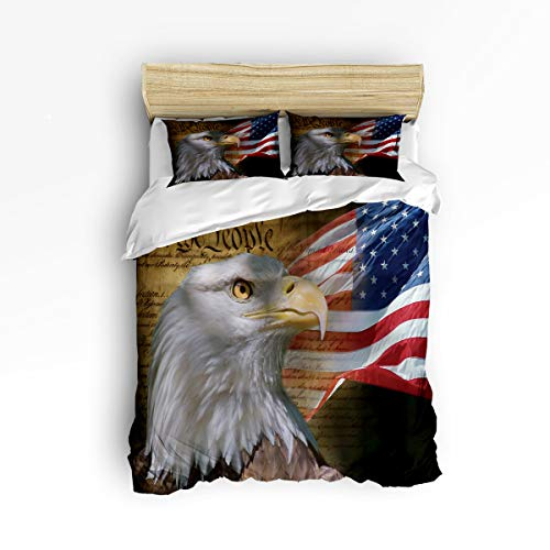 FunDecorArt 3 Piece Polyester Fabric Bedding Set with Zipper Closure Queen Size, American Flag Eagle Comforter Cover Set Duvet Cover with 2 Pillow Shams for Girls/Boys/Kids/Children/Teen/Adults