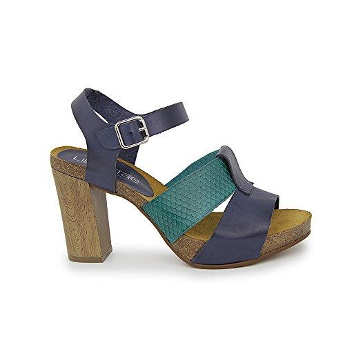 Sandalia Tacon En Piel Azul y Verde AZUL - VERDE