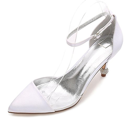 Soirée F17767 De Chaussures Blanc 20 Pompe Été Mariage De Printemps Et Pour Violet Mariage L Femmes Svhs D'argent Satin Chaussures Soir vnHAFPqP