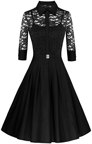 Angerella Retro Dresses For Women Vintage Classy Black Party 3/4 Sleeve Dress