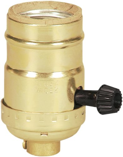 EATON Wiring 917ABD-SP-L 250-Watt Electrolier Medium Base Metal Shell One Circuit Turn Knob Switch, Brass Dipped Aluminum
