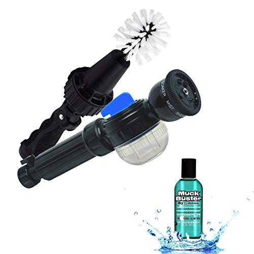 Dynamic Duo by BRUSH HERO – Brush Hero Water-Powered Cleaning Tool and Detailing Brush for Cars, Bikes and Motorcycles Plus The Soap Star Deluxe Hose End Soap Dispenser ()