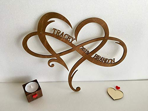 Personalized Infinity Symbol Custom Wood Wedding Sign Couple Names Established Year Heart Sign Wooden Love Heart Shape Wedding Gift Wall Hanging Door Hanger Est. Family Gift for Couples Home Decor (Shape Symbol Love)
