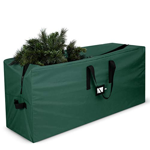 Premium Large Christmas Tree Storage Bag - Fits Up to 9 ft. Tall Artificial Disassembled Trees, Durable Handles & Sleek Dual Zipper - Holiday Xmas Bag Made of Tear Proof 600D Oxford - 5 Year Warranty (Artificial Christmas Tree Storage)