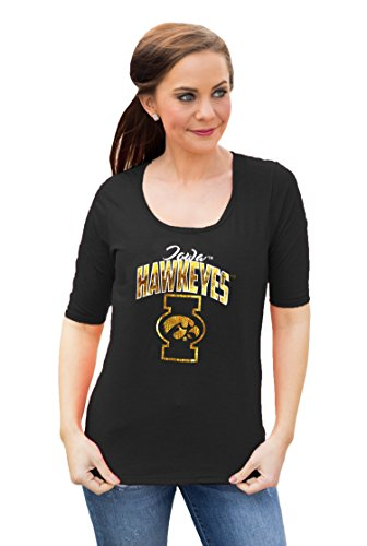(NCAA Iowa Hawkeyes Women's Half Sleeve tee with logo, XX-Large, Black )