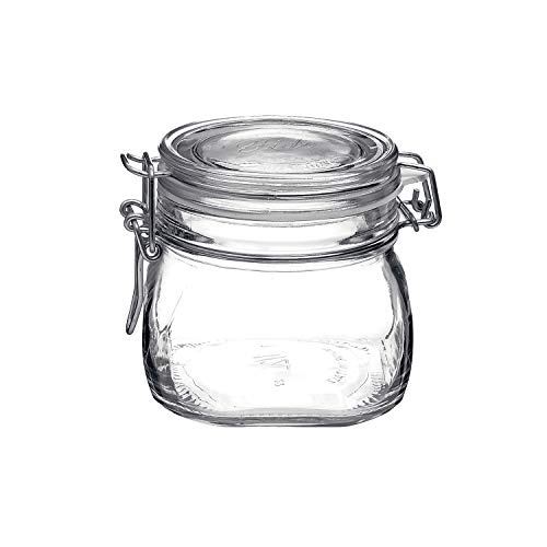 Bormioli Rocco Fido 17.5 Ounce Glass Storage Jars: Airtight Hinged Lid With Leak Proof Gasket, Wide Mouth Food Container - For Zero Waste Air Tight Preserving Jam, Spices, Coffee, Sugar - Heremes Jar