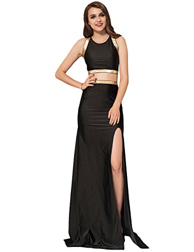 GoeSecret Women's Long Evening Gowns Black Cross-Strapped Gown (Long Spaghetti Gown Strapped)