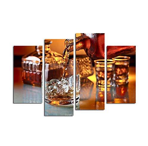 WW Lienzo Pintura al óleo Bricolaje Bar Restaurante Bar Wall Art decoración 4pc