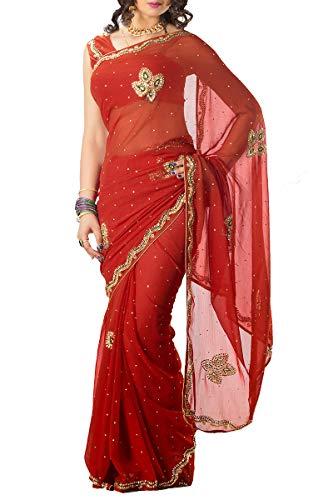 Red Wear Ethnic Exclusive Saree Designer Chiffon Indian xI6qzCBwz