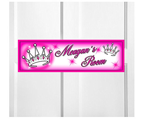 Onestopairbrushshop Personalized Kids Room Door Sign-Princess Crown Bedroom Door Sign-Room Plaque - Plaque Personalized Princess
