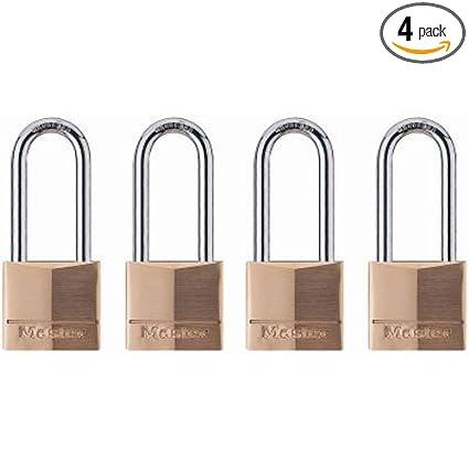 51619ab4c068 Master Lock 140QLH Solid Brass Lock, 4 Pack, Silver, 4 Padlock