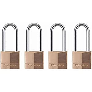 Master Lock 140QLH Keyed-Alike Wide Padlocks, Solid Brass, 1-9/16-inch, 4-Pack