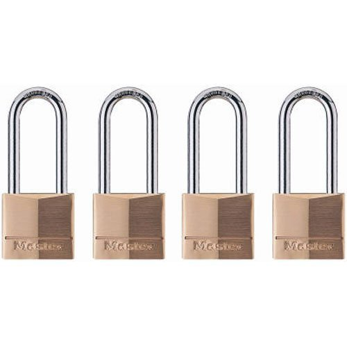 (Master Lock Padlock, Solid Brass Lock, 1-9/16 in. Wide, 140QLH (Pack of 4-Keyed Alike))
