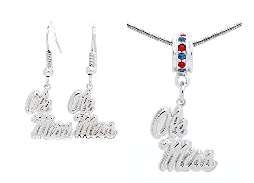 OLE MISS REBELS PENDANT NECKLACE AND EARRING SET CAN ALSO BE USED AS A BRACELET CHARM