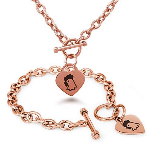 Rose Gold Plated Stainless Steel Chicken Icon Heart Charm Toggle, Bracelet & Necklace Set