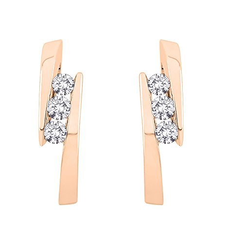 Bezel Set Brilliant Cut Diamond (Bezel set Bypass Style Three Diamond Earrings in 14K Rose Gold (1/4 cttw) (Color GH, Clarity I2-I3))
